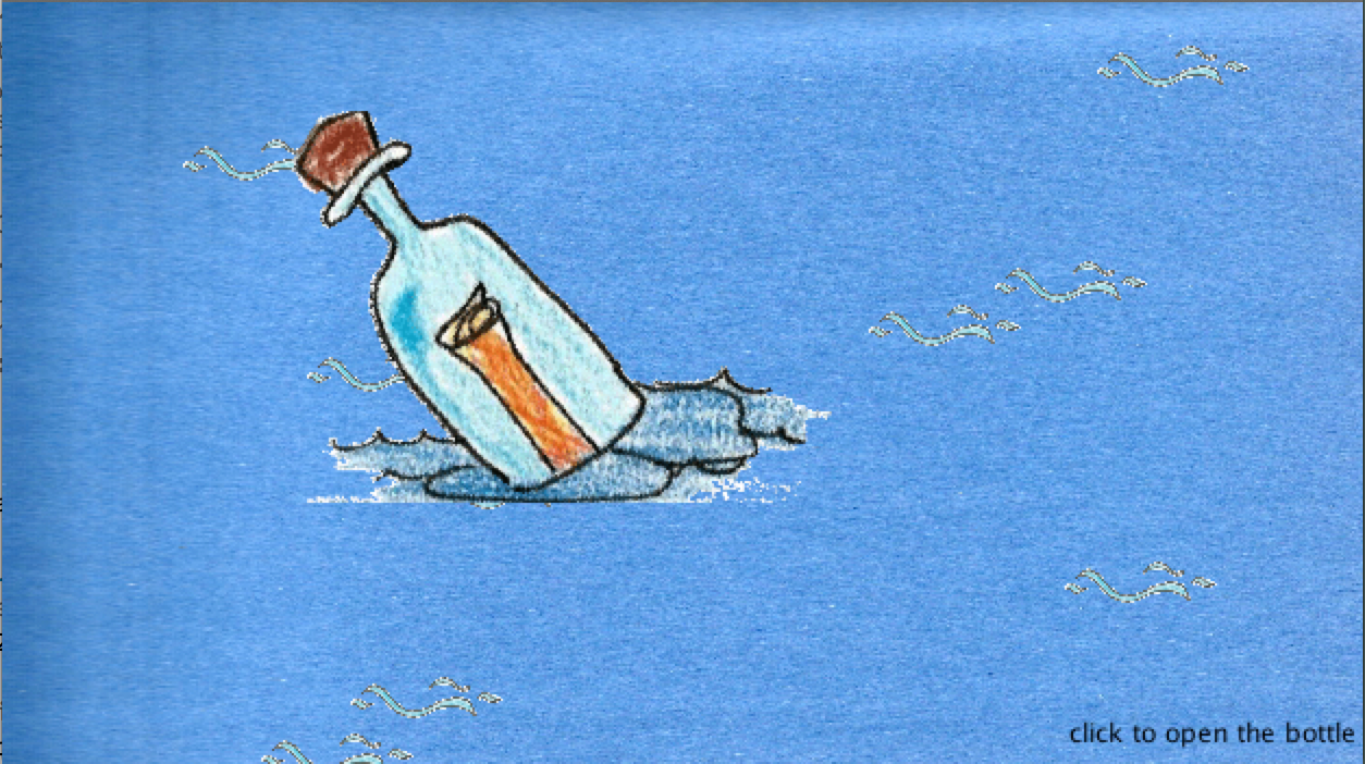 A bottle is floating in the sea